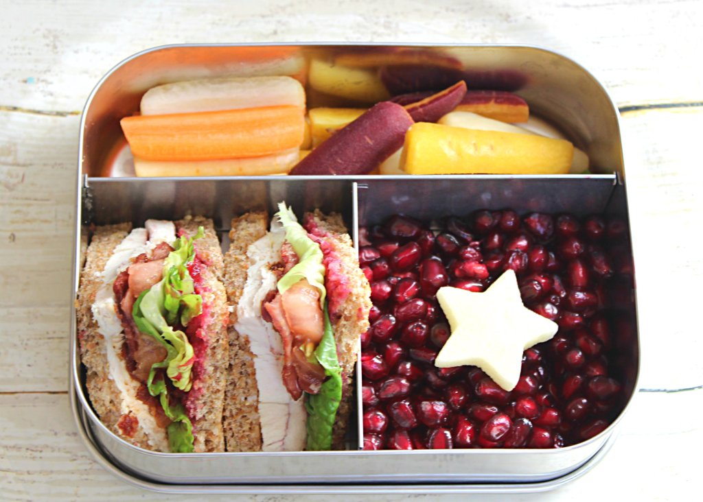 Bento Lunchbox for Kids: Use Leftover turkey to make Healthy Club sandwiches.