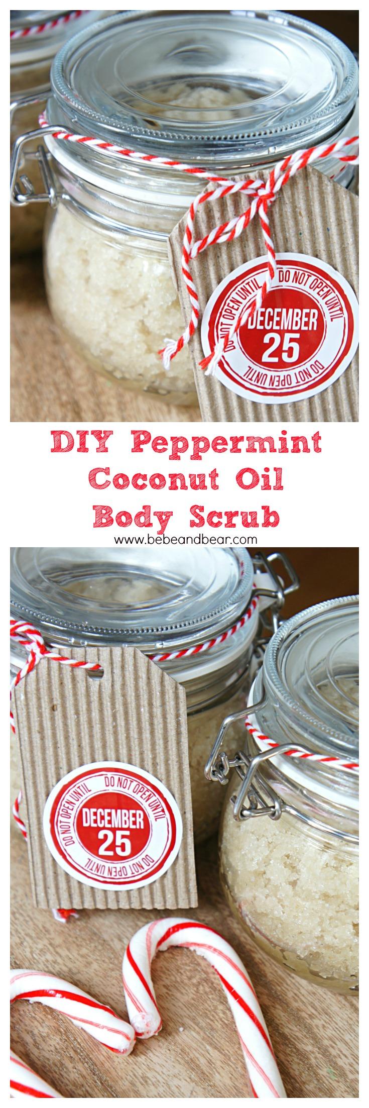 DIY homemade organic peppermint coconut oil sugar scrub.