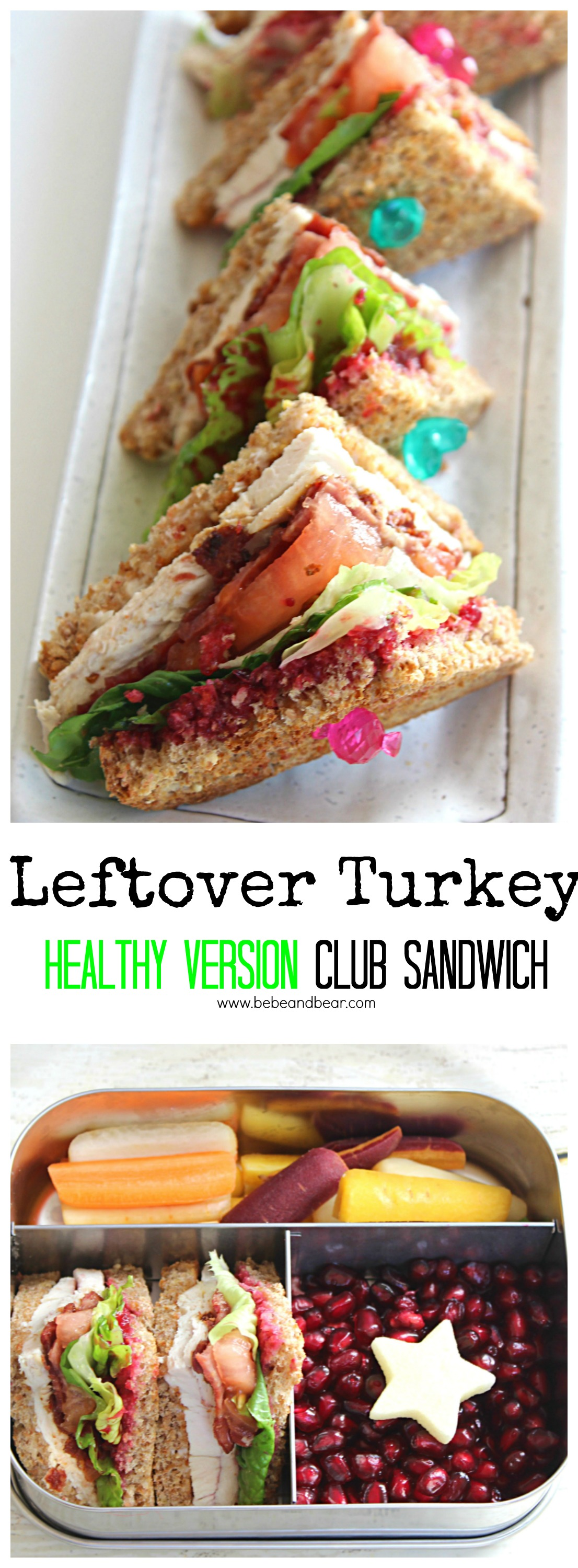 Leftover Turkey: Healthy Version Club sandwich with turkey bacon, veganaise and sprouted bread.