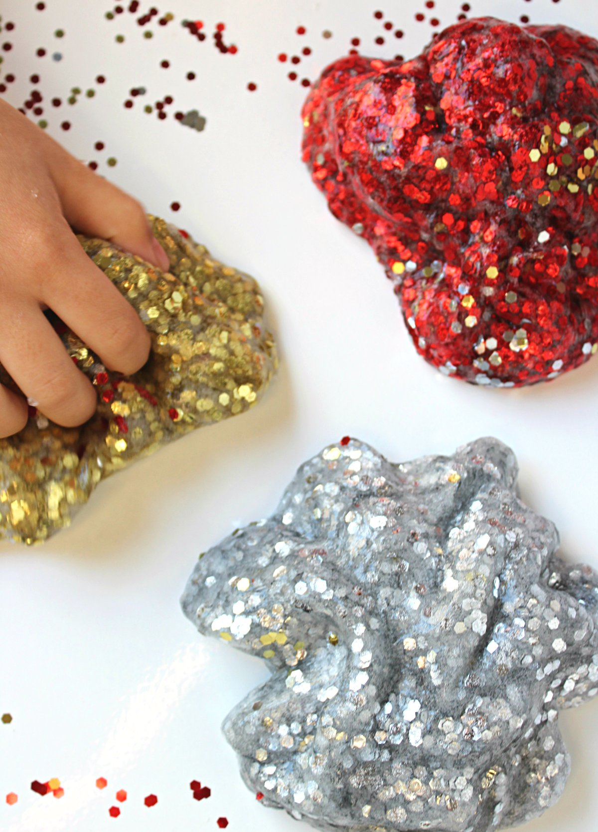 New Year's Party Clear Glitter Slime made with contact lens solution and baking soda.