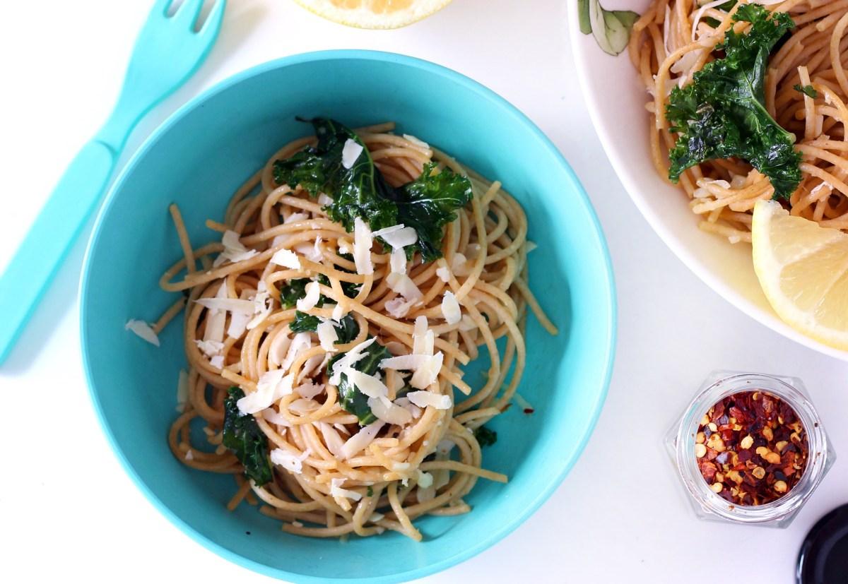 Lemon Kale Pasta with Garlic and Parmesan