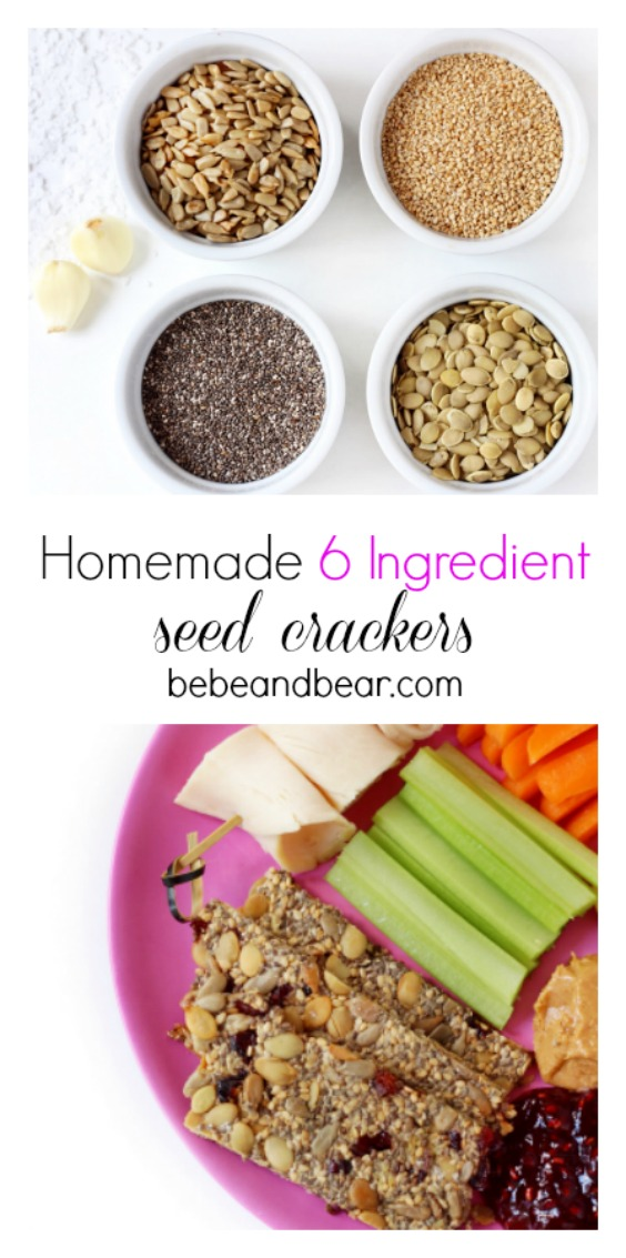 Homemade seed crackers using only 6 ingredients.