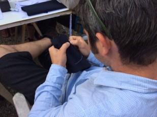 Yves learning sashiko