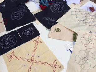 Sashiko sample; kogin workshop