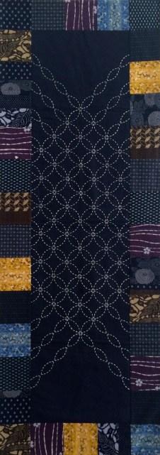 Navy background, white sashiko thread