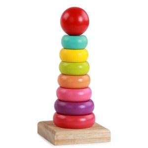 Turn din lemn montessori – colorat ( 9 piese)