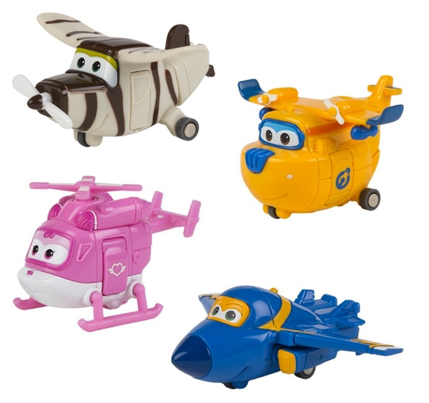 Super Wings - Lote 4 personajes transformables: Donnie, Jerome, Dizzy o Bello