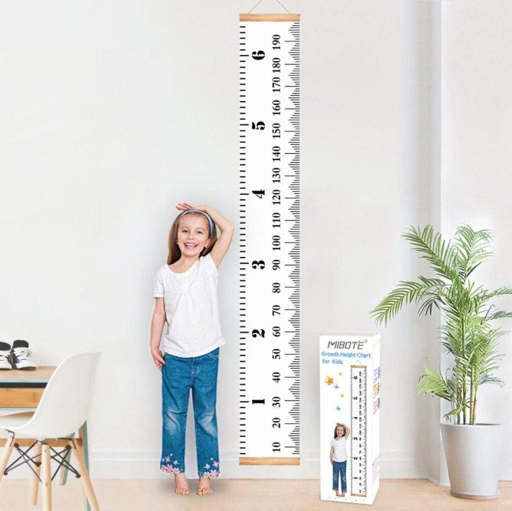 abla de crecimiento para colgar en la pared de  MIBOTE de lona y madera