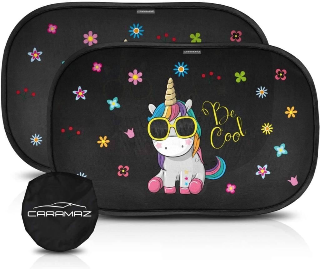 Parasol coche infantil con protección UV extra oscura - autoadhesivo con unicornio