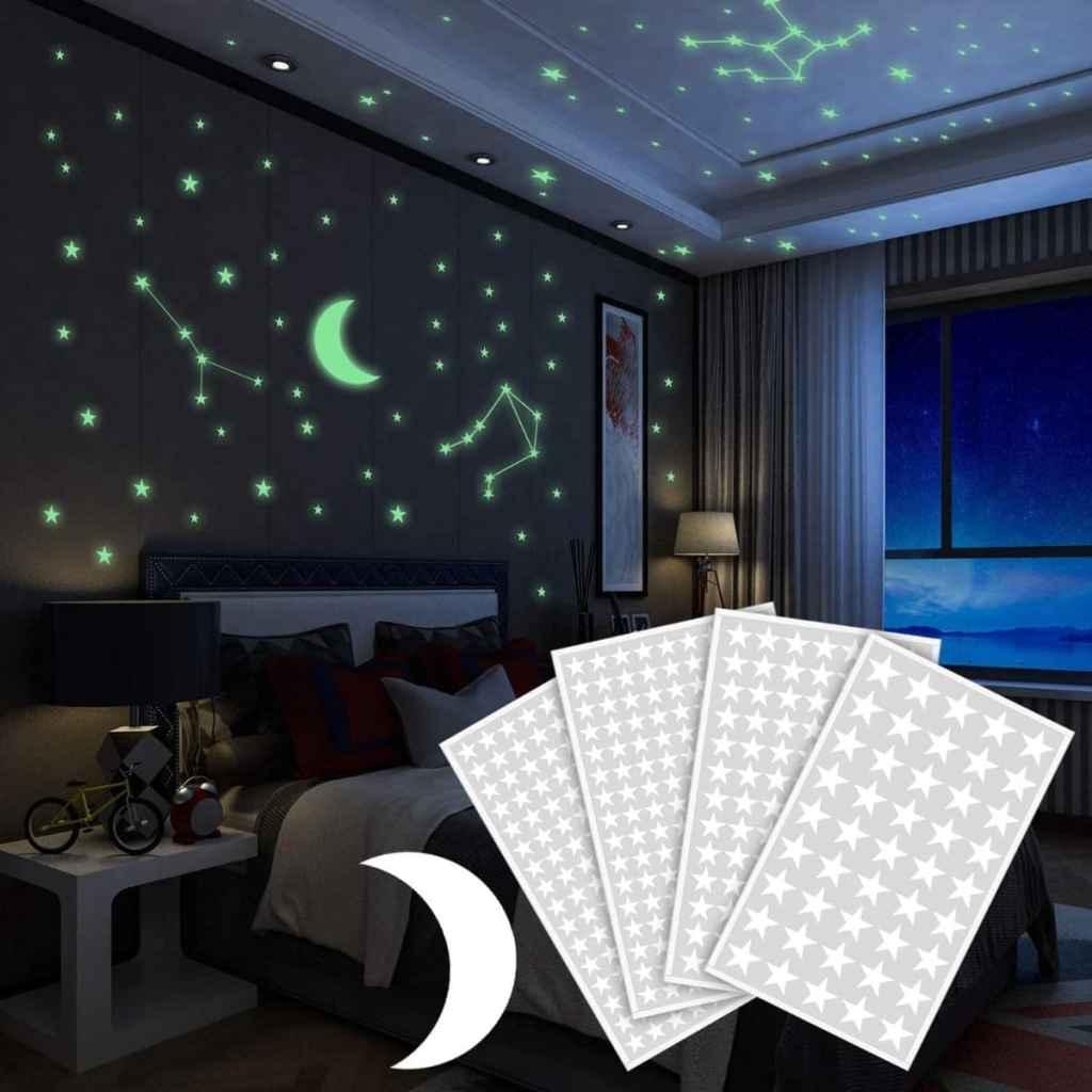 Pegatinas de pared con Luna y Estrellas fluorescentes de Yosemy