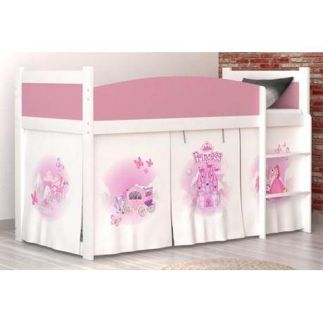 lit mezzanine sureleve princesse avec matelas et rideau lits mezzan