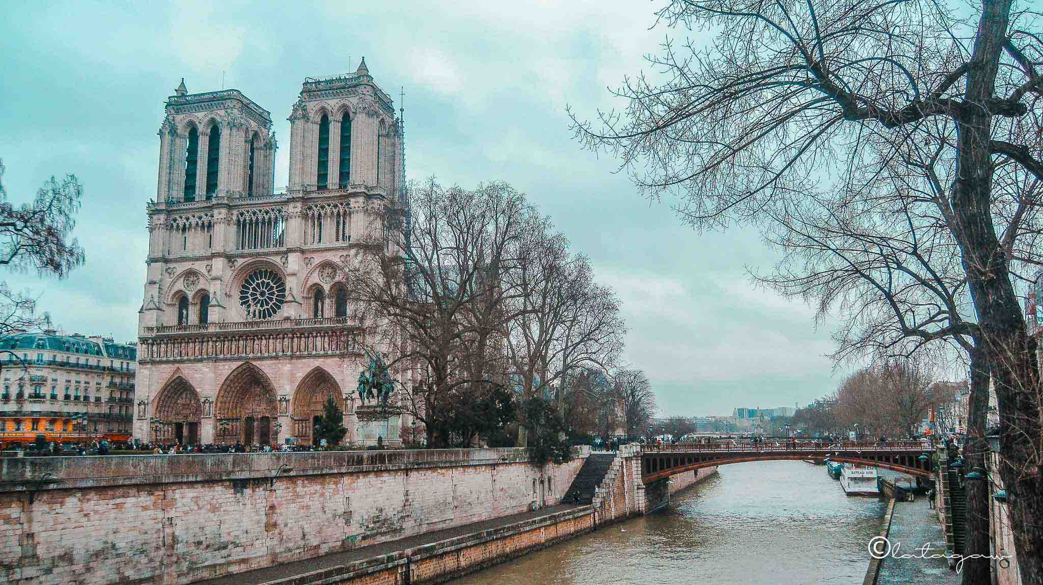 notre dame cathedral and seine river in paris france
