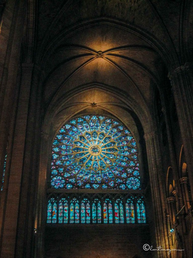 window at notre dame cathedral paris france