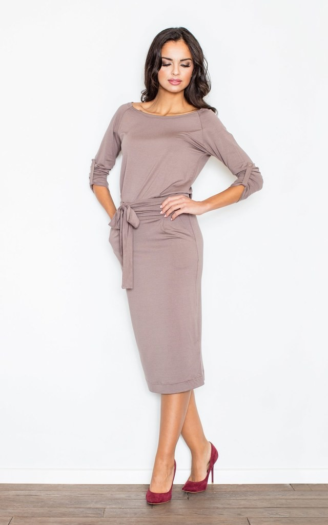 Brown Loose Fitting Long Sleeved Casual Dress With Two Po ...