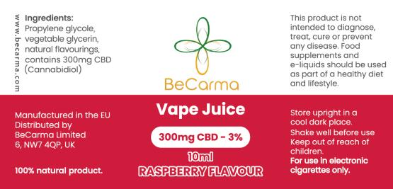 raspberry 300mg vape juice label
