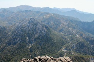 Looking down on Puerto de Frigiliana, the summit of an old mule trail over the mountains from the coast to Granada