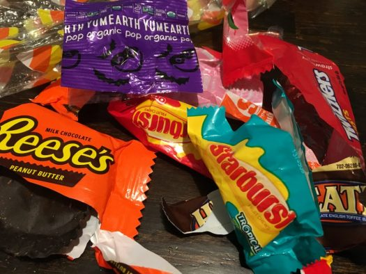 Plastic Halloween candy wrappers from a Halloween event. Photo by me.
