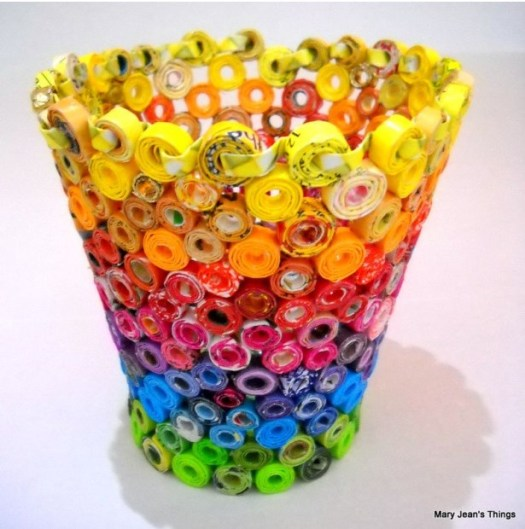 Upcycled candy wrapper vase, found on Pinterest