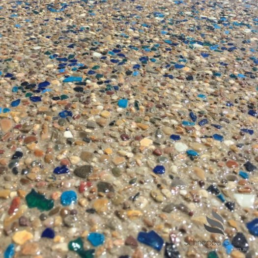 Recycled glass in aggregate - isn't that pretty? Photo from Schneppa Glass.