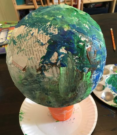 "The ""completed"" version of our paper mache Earth."
