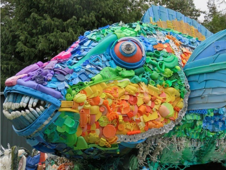 Priscilla the Parrotfish plastic art sculpture