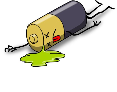 Graphic of a dead, leaking battery. Image by acunha1973 on Pixabay
