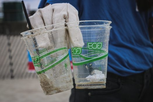 A person holding 'compostable' plastic cups found at Jones Beach State Park, Long Island, New York.