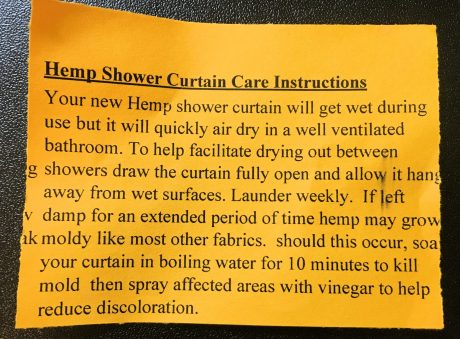 Hemp shower curtain instructions