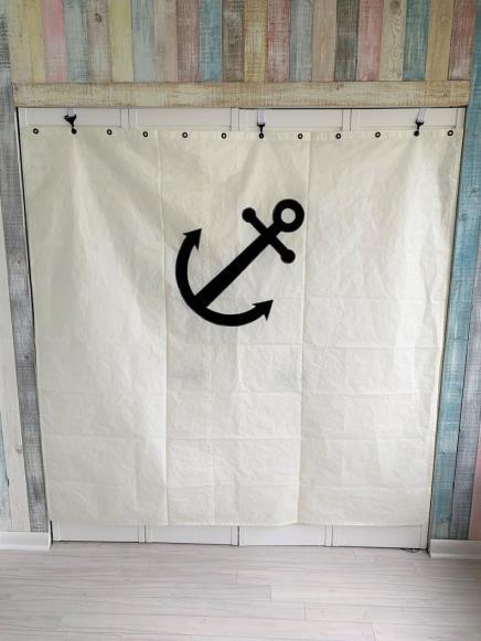 Reclaimed sailcloth shower curtain