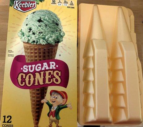 Keebler ice cream cones, packed in #6 polystyrene packaging.