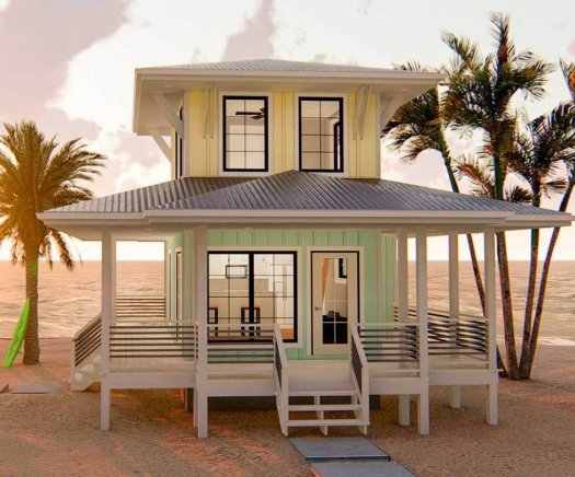 Elevation of a tiny house on the beach