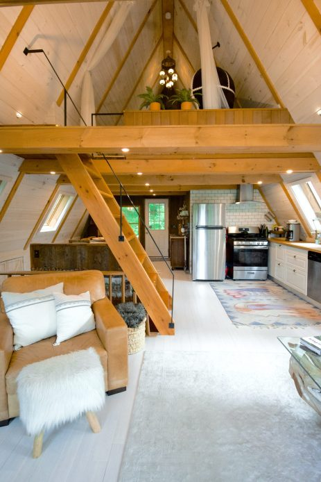 Interior of a small A-frame house