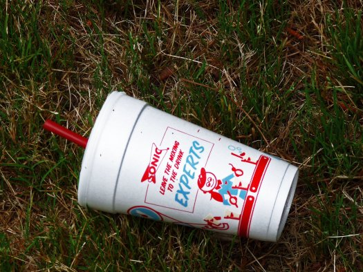 Sonic polystyrene cup found on ground