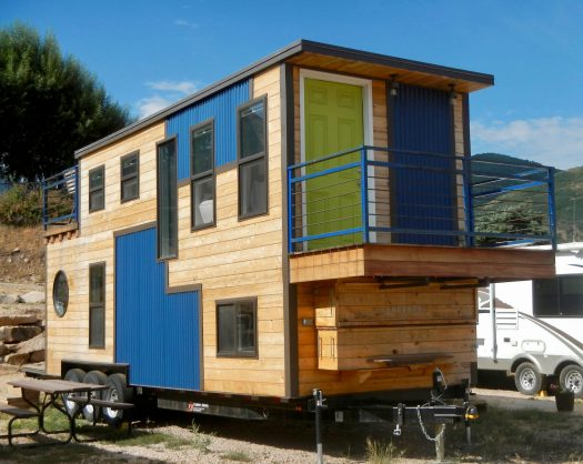 Two story tiny house exterior