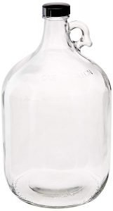 Clear gallon growler glass jug