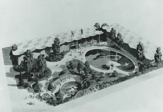 "Proposed ""marine park"" at Seattle Center, 1966, elevations/drawing."