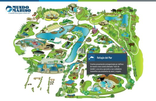 Map of the Mundo Marino Park, showing that the orca (Kshamenk) lives in the smaller pool.