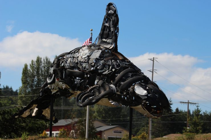 Orca sculpture made from beach trash
