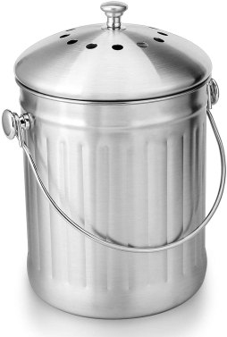 Stainless steel compost countertop bin or crock