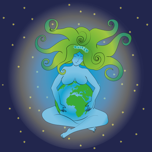 Illustration of a woman pregnant with Earth, Mother Nature