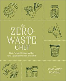 The Zero-Waste Chef book cover, green with inked illustrations of food