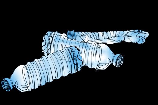 Illustration of plastic water bottles.