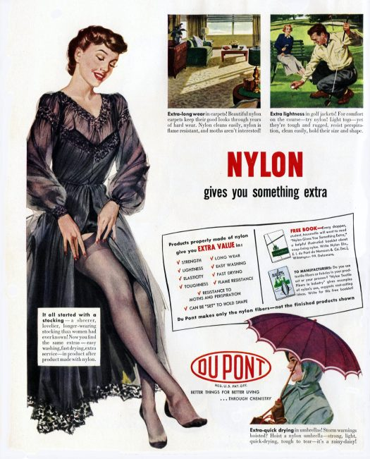 DuPont advertisement for Nylon from 1949, showing woman pulling up her Nylon stockings.
