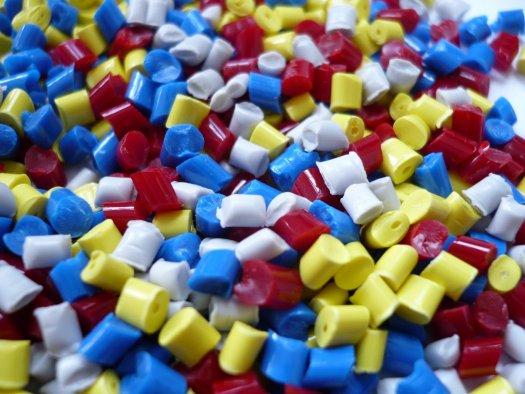 Colorful plastic nurdles close-up.