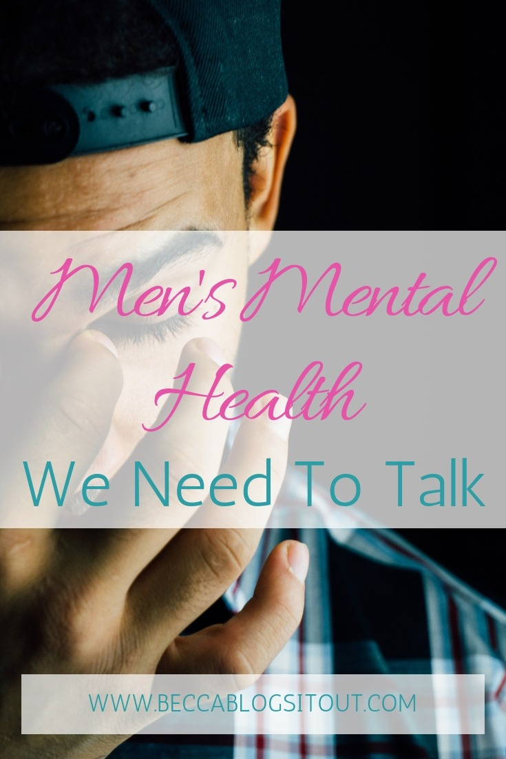Men's Mental Health - title oer a photo of a man's face with his eyes closed