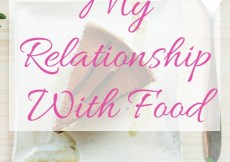Mr Relationship With Food - background photo shows a slice of chocolate cake on a white plate with a fork
