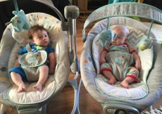 Twi babies sitting side by side in a baby bouncer and a baby swing