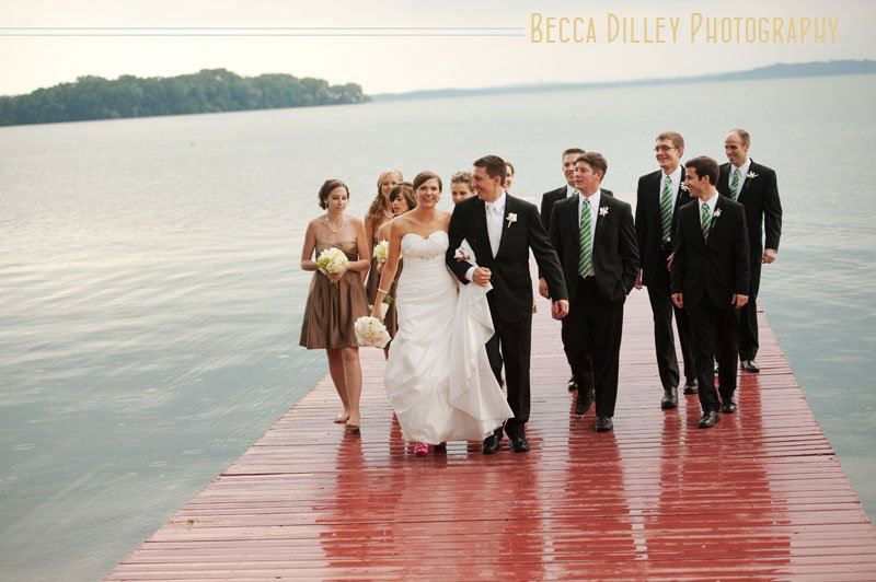 lake mendota wedding photos with red pier