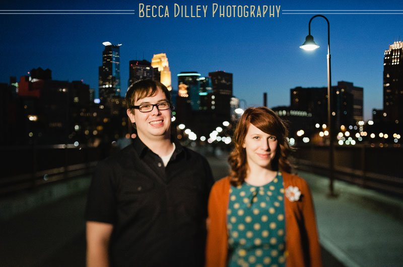 Northeast Minneapolis engagement photos at night