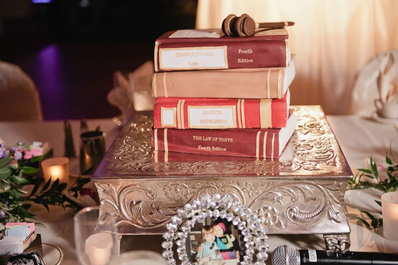 Grooms cake as law books St Paul hotel wedding mn